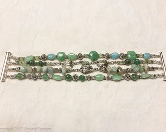 Green Aventurine and Sterling Silver  Bracelet
