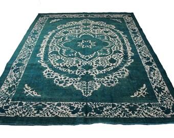 9x12 Distressed Vintage Persian Emerald Low Pile Rug 2905