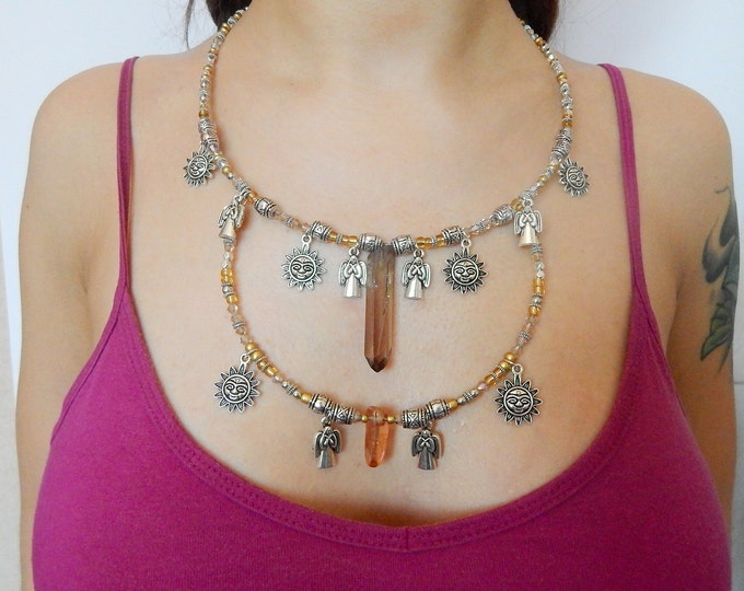 Crystal necklace, ethnic boho necklace, quartz necklace, tribal necklace, sun bohemian necklace, festival jewelry, angel necklace
