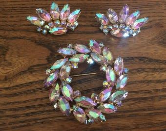 Juliana D&E Aurora Borealis Rhinestone Wreath Brooch and Pierced Earring Set 1139