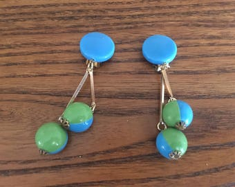 Western Germany Vintage Blue and Lime Green Plastic Beads Dangle/Drop Mod Earrings 1200