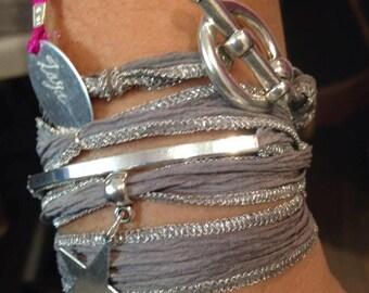 Zamak silver Silk Ribbon Bracelet
