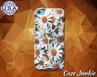 White Daisy Flower Bush Floral Yellow Floral Tumblr Inspired Case iPod Touch 4th Generation or iPod Touch 5th Gen or iPod Touch 6th Gen