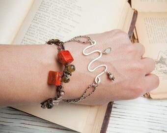 Coral bracelet, boho bracelet for women, knitted bracelet, layering bracelet, multistrand, gemstone bead, waxed textile cord, gift for her
