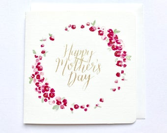 Happy Mother's Day greeting card, watercolour, typography, calligraphy, floral, gold, pink