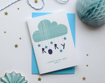Personalised new baby card, congratulations card,  New Born Card, new baby boy card, new baby girl card, Blue or Pink, Name card, cloud card