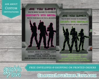 Personalized Are You Game Laser Tag Birthday Invitation | Gaming, Neon, Pink or Green | 4x6 or 5x7, Digital or Printed, FREE USA Shipping