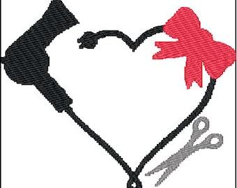 Blow Dryer Scissors Hairdresser Embroidery Design
