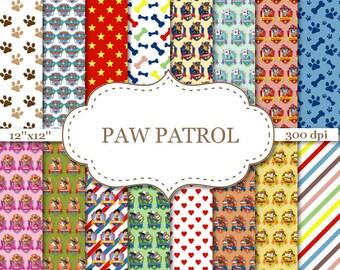 "PAW PATROL digital paper Paw patrol digital papers Paw patrol scrapbook Paw patrol paper Paw patrol birthday Instant download 12""x12"" #P175"