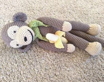 Monkey, crochet monkey, monkey toy, amigurumi monkey, monkey with banana, gift for kids, banana monkey