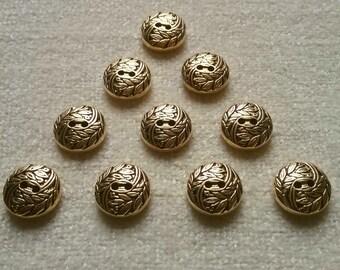 10 x GOLD effect buttons leaf swirl pattern 2-hole 15mm jewellery steampunk