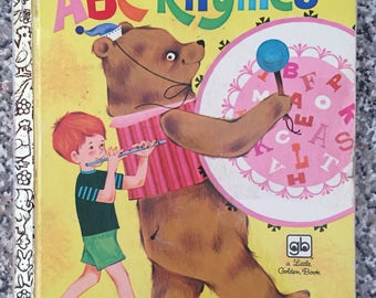 Vintage little golden book abc rhymes children's picture story book 70s 1970s