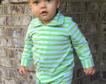 Green Striped Christmas Pajamas