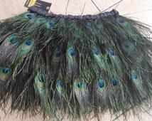 Mini peacock feather skirt  with wide elastic waistband #SKT16013