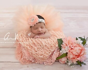 Peach baby headband and tutu ,infant headband, Newborn Headband ,Baby Girl,Infant,Headband,Baby Headbands,Wedding,Baptism, hair bows