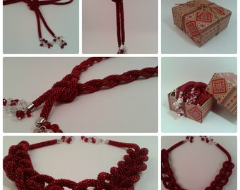 Lariat Red beaded necklaces Boho style Long lariat Beaded rope