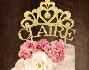 Princess cake topper, crown cake topper, custom made