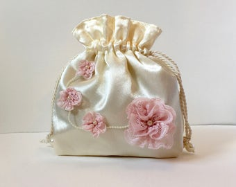 Wedding bag, bridal bag, flower girl bag, Ivory satin drawstring pouch, hand made bag, evening bag, bridesmaids bag, mother of bride bag