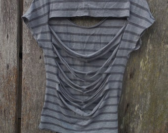 One of a kind custom slashed back XS womens Gray Striped London Graphic Shirt destroyed ripped street wear look urban style