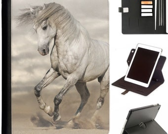 Grey and white horse Luxury Apple ipad 360 swivel i pad leather case cover with card slots