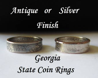 "Georgia State Quarter Handmade ""Coin Ring "" **FREE SHIPPING**"