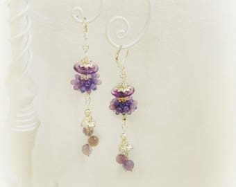 Purple Lampwork Earrings w Amethyst Dangles