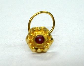 18kt traditional design gold nose stud nosepin nose ornament handmade
