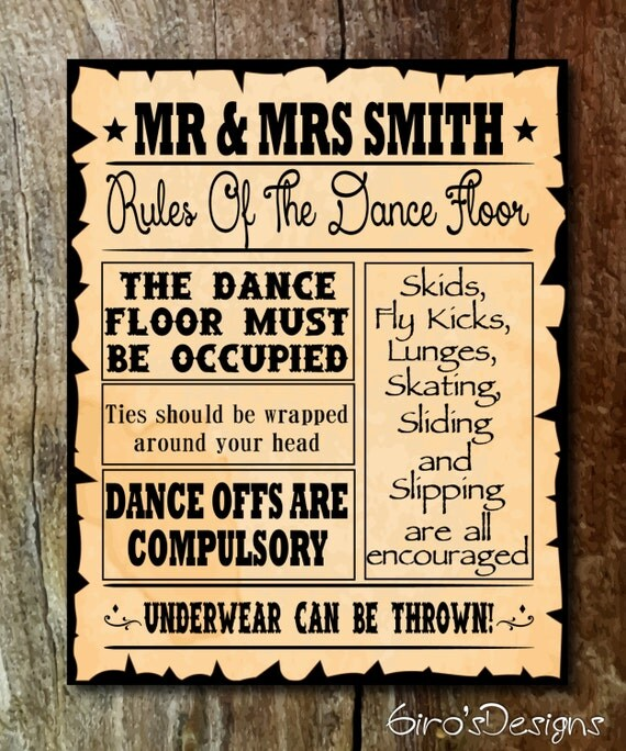 Dance floor rules sign - Dance Floor Rules, Custom Printable Wedding Sign, Digital