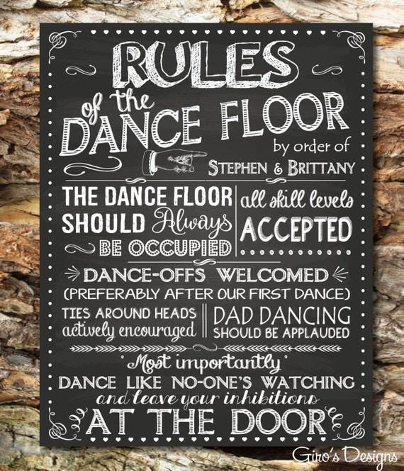 Dance floor rules sign - Chalkboard Dance Floor Rules, Custom Printable Wedding Sign, Digital