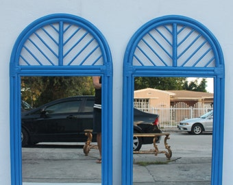 McGuire Rattan Arch Wall Mirrors A - Pair .