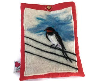 Luxury padded iPad/tablet case, featuring original artwork swallow