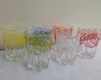 Shot glasses, 1950's, post war, mid century, juice glasses, British, kitchen, kitchenalia, bar, man gift, vodka, tequila