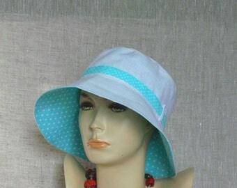 Linen hat, summer hat, women's hat, Oeko Tex, turquoise hat