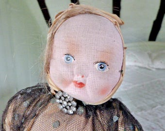 Antique Doll Vintage Doll, cloth faced doll, boudoir doll, bedroom doll, doorstop doll, shabby doll, 1930's doll, doll for repair upcycle