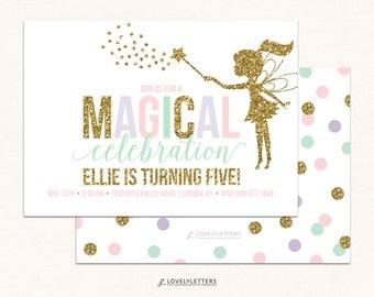 Fairy Birthday Invitation / Fairy Birthday / Magical Birthday / Fairies Invitation / Magical Fairy Invites / Digital / Glitter Fairy Party