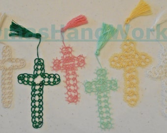 Tatted cross bookmark, Hand Tatted, Christian bookmark, tatting, lace making