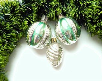 Set Of 3 Soviet Christmas Ornament Glass Ornament Silver Ornament Vintage Ornament Mercury Glass Handpainted ornament Holiday decor