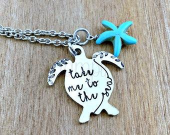 Sea Turtle | Take Me To The Sea | Sea Turtle Necklace | Sea Turtle Jewelry | Beach Jewelry | Turquoise | Sea Jewelry | Turtle Necklace