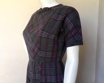 Charcoal Grey & Purple Plaid Vintage Frock Dress bu Dauphine