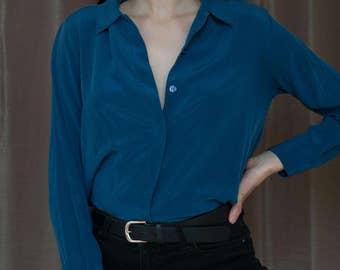 Light Blue Silk Button-up