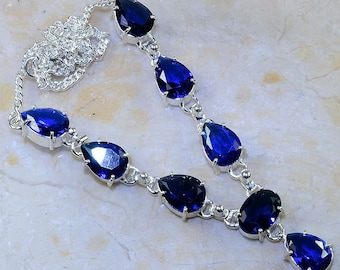 "Dazzling Faceted Iolite Necklace 18 1/4"" Princess Style"