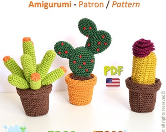 CACTUS - TRIO Collection - Amigurumi Crochet Pattern - 3 PDFs - American Terminology