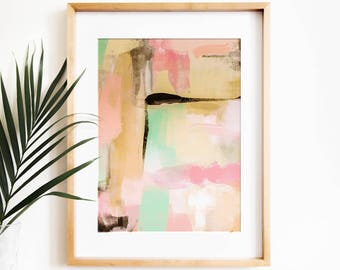 Abstract painting PRINTABLE art, Modern art, Contemporary art, Pastel wall art, Pink and teal, Large abstract art, Digital download art,