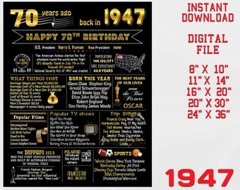 70th Birthday Poster, Chalkboard Poster Gold, Back in 1947, 70 Years Ago, Birthday Gift, Chalk Blackboard DIGITAL FILE Instant download d1-2