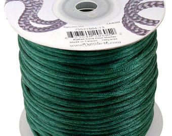 Hunter Green Satin 2 mm Rattail Cord - 100 yd - 300 Ft - Full Spool - Kumihimo Cording