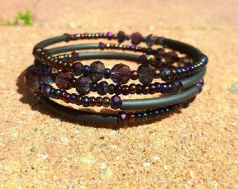 Memory wire wrap bracelet oil purple