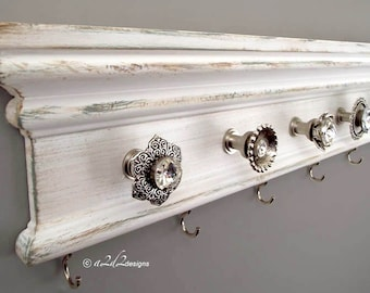 "Jewelry Storage, Distressed White Organizer, Necklace Wall Hanger, 22""  Faux Painted Decor, Holder with Knobs, Bedroom Housewarming Gift"