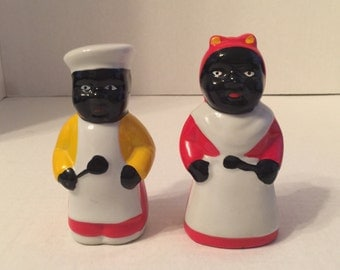 Vintage African American Salt and Pepper Shakers, Black Americans