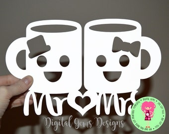 Mr and Mrs paper cut svg / dxf / eps / files, and pdf / png printable templates for hand cutting. Digital Download. Commercial use ok.