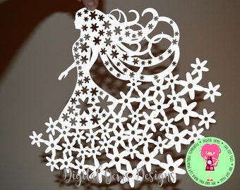 Girl of flowers paper cut SVG / DXF / EPS files and a Printable template for hand cutting. Digital Download.